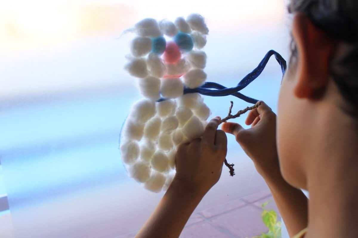 Manualidades- Muñeco de nieve con algodón