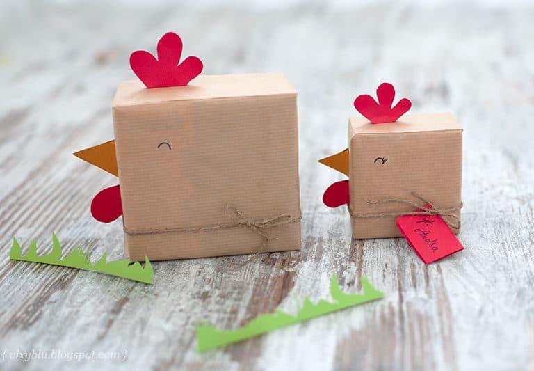 Ideas para envolver regalos con forma de gallina