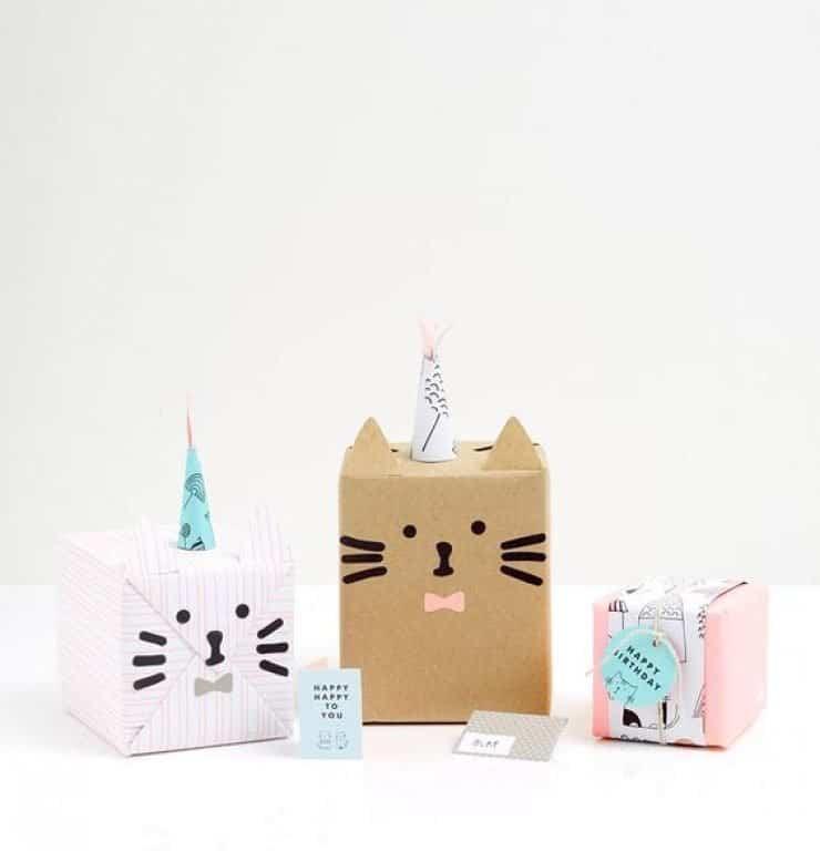 ideas para envolver regalos con forma de gato