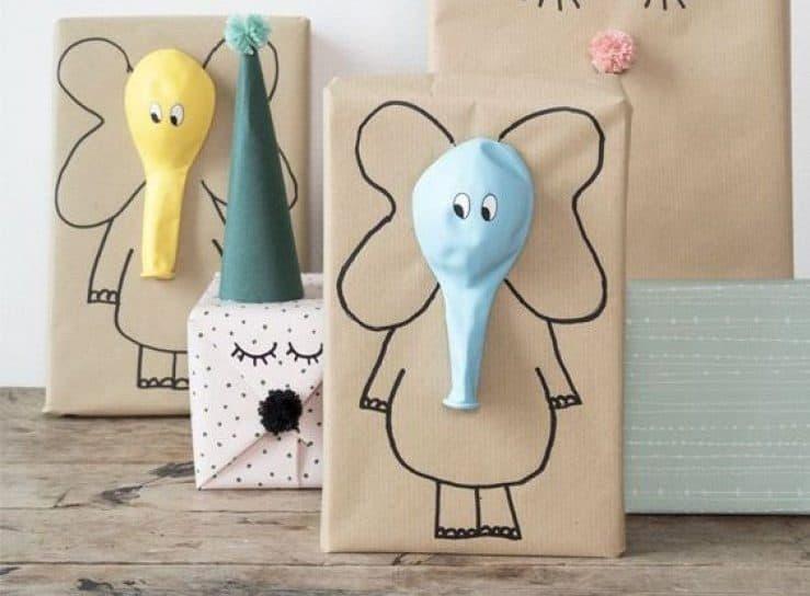 Ideas para envolver regalos con forma de elefantes