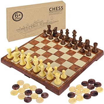 juego de mesa clásico de ajedrez y damas
