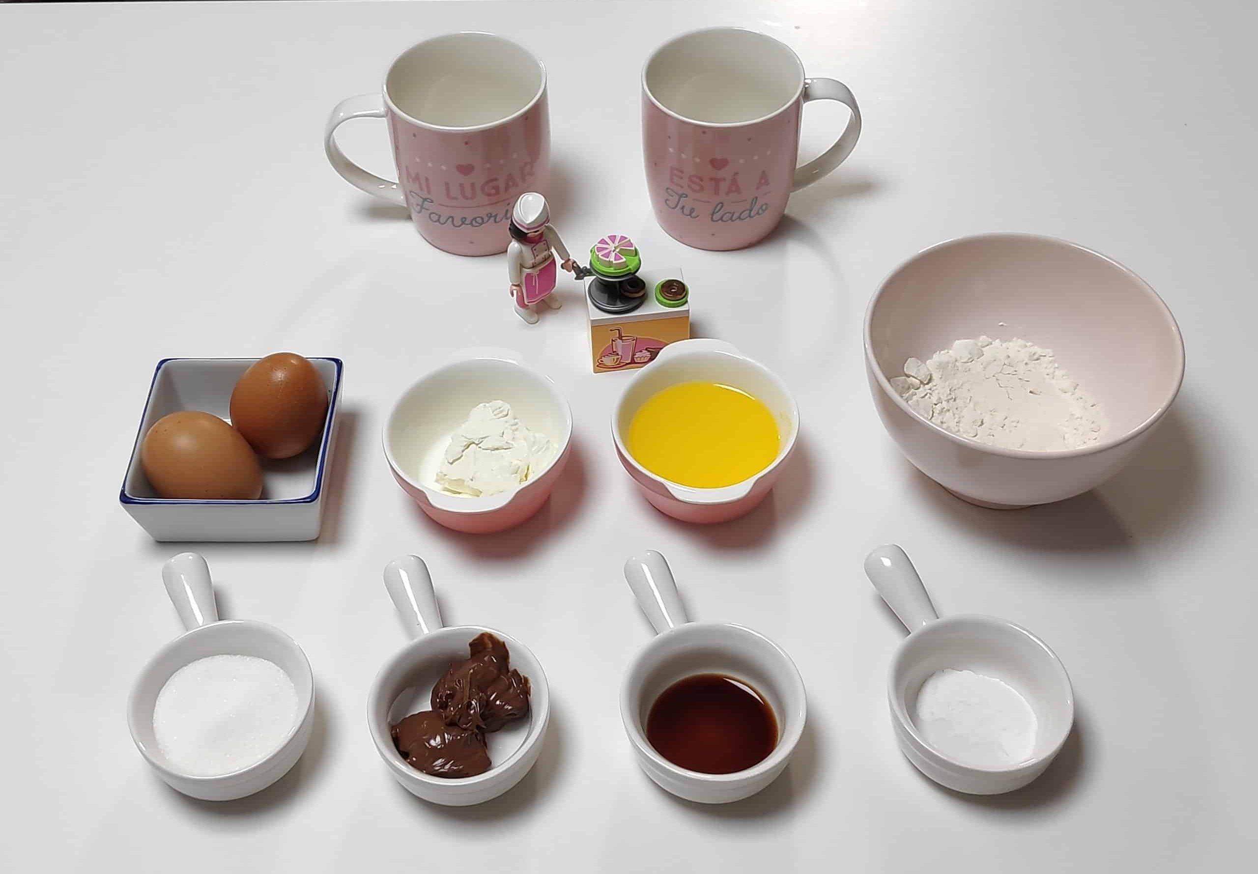 ingredientes receta mug cake con queso y nutella